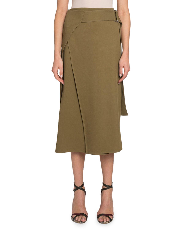 Victoria Beckham Skirts BELTED FLUID MIDI SKIRT
