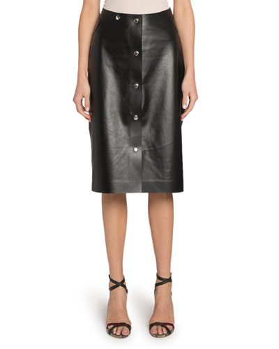 Button-Front Midi Leather Skirt