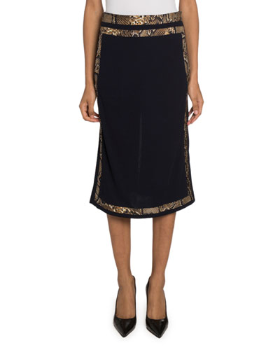 Snake-Trim Crepe Jersey Skirt