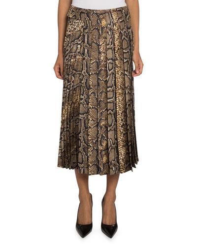 Snake-Print Pleated-Silk Skirt