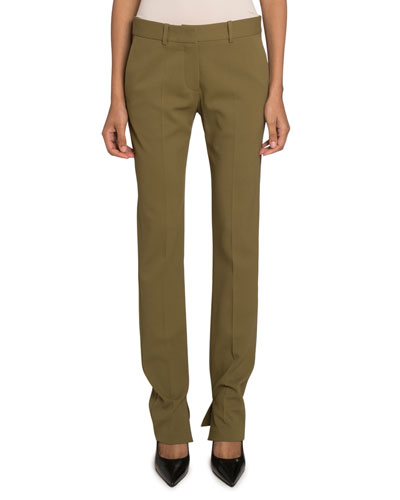 Textured-Cady Split Skinny Trousers