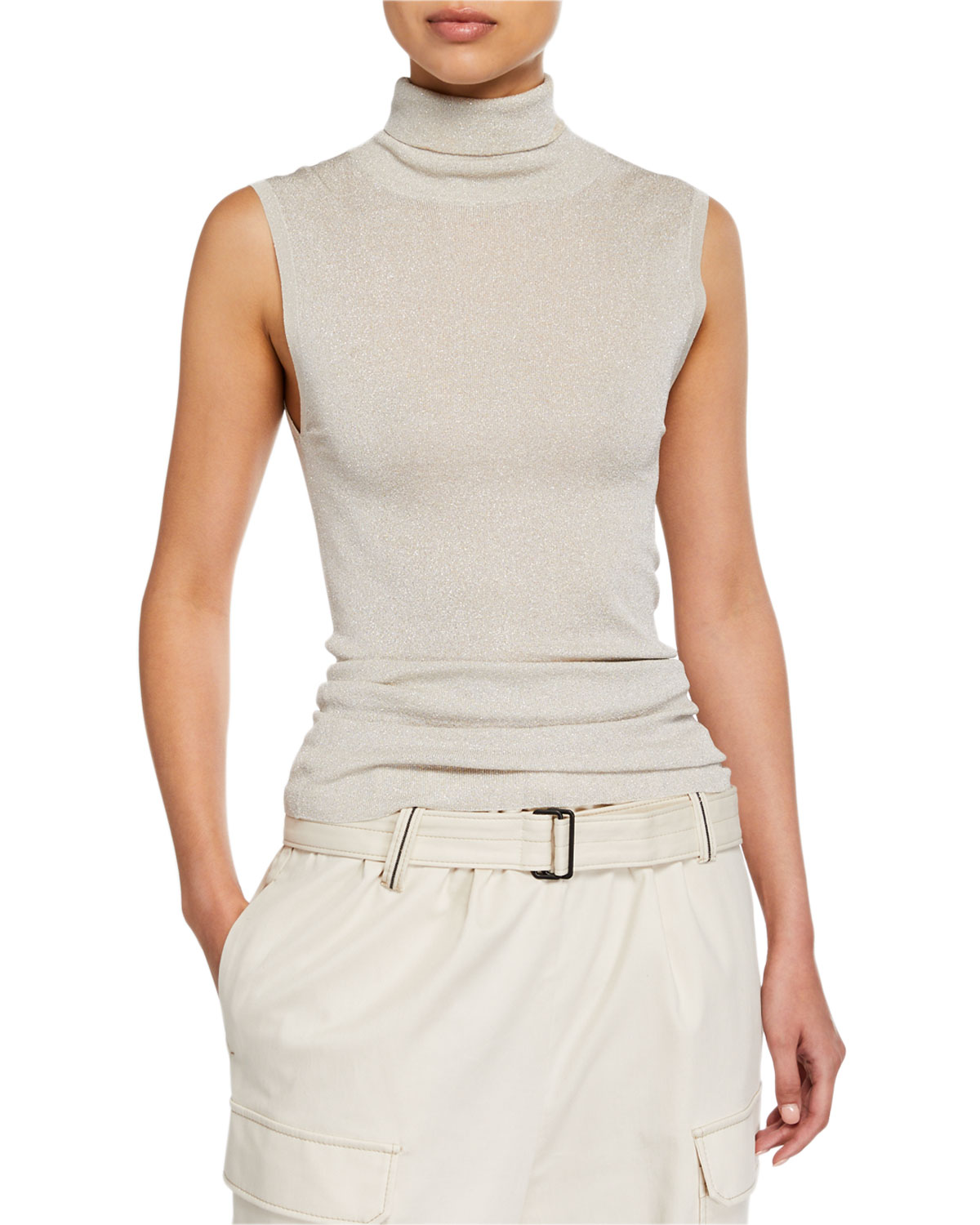 92db3afb23 Shimmer Sleeveless Turtleneck Top in White