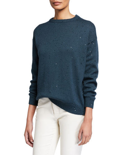 Sequined Cashmere Silk Sweater