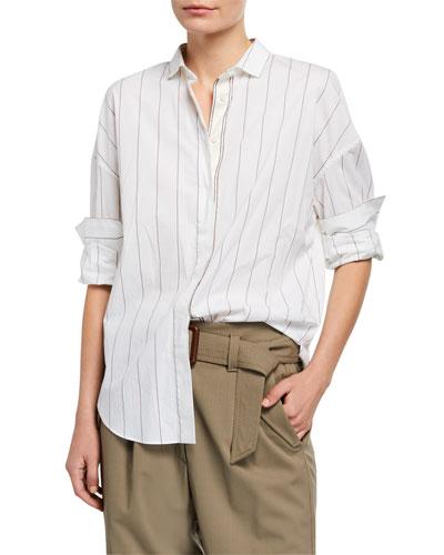 Monili-Beaded Striped Poplin Shirt