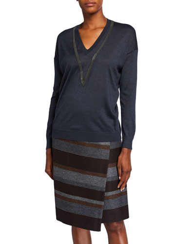 Cashmere Silk Monili-Beaded Sweater