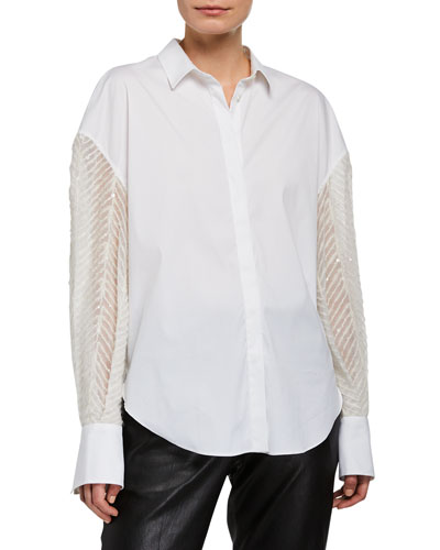 Sequined Poplin Button-Front Shirt