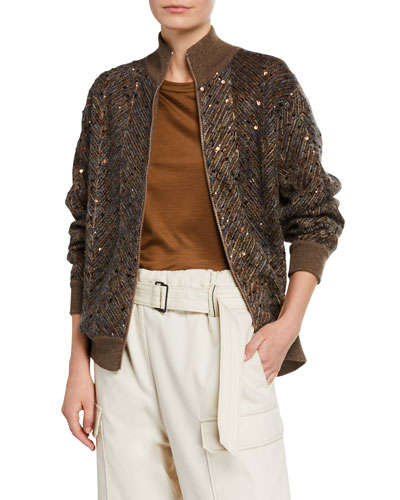 Chevron Sequined Mohair Jacket