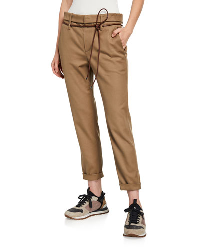 Rope-Belted Stretch-Cotton Trousers