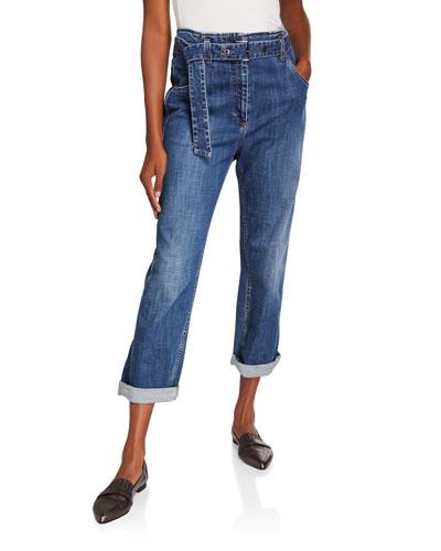 Dark-Wash Boyfriend Jeans with Grommet Belt