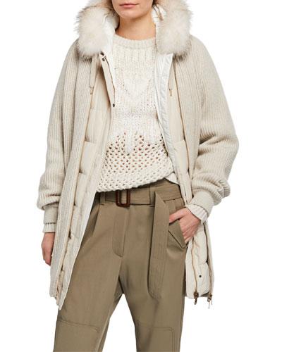 Fox-Fur Trim 4-In-One Cashmere Cardigan & Taffeta Vest