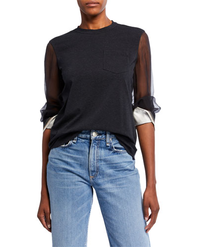 Cotton Sheer-Sleeve Monili Top