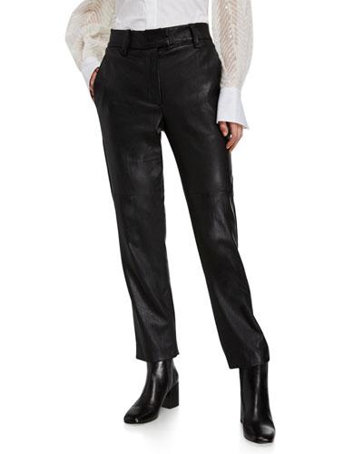 Straight-Leg Napa Leather Trousers