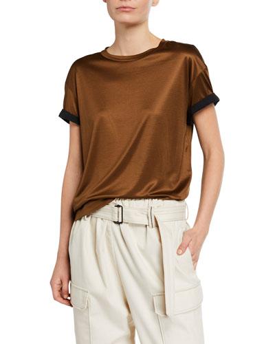 Monili-Cuff Silk Jersey Crewneck T-Shirt