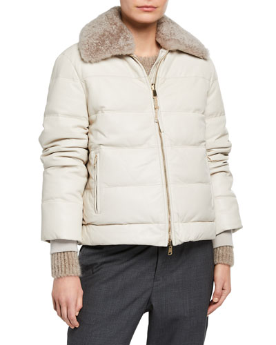 Cashmere Fur Trim Leather Taffeta Down Bomber