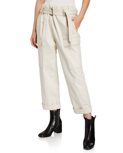 Cotton Cargo-Style Monili-Belted Pants