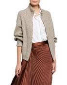 Brunello Cucinelli Shimmer Wool-Cashmere Zip-Front Sweater