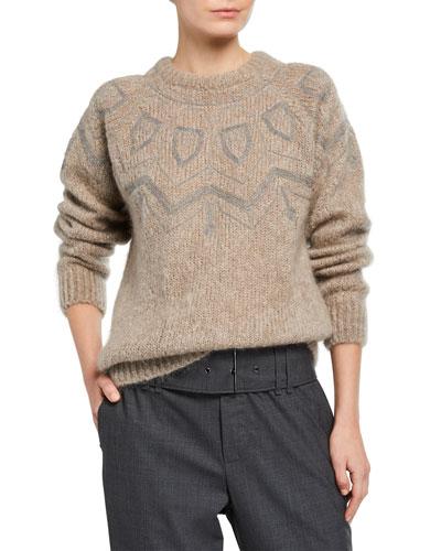 Monili-Embellished Mohair Crewneck Sweater