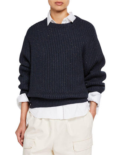 Cashmere Shimmer Ribbed Sweater