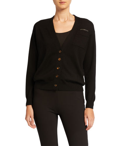 V-Neck Button-Front Cashmere Cardigan w/ Monili Trim