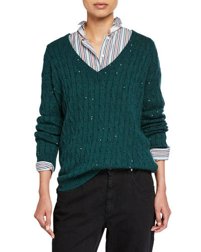 Cashmere-Silk Sequined Cable-Knit Sweater