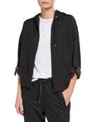 Brunello Cucinelli Cashmere Roll-Sleeve Zip-Front Hoodie