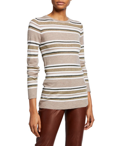 Wool-Cashmere Shimmer-Striped Sweater