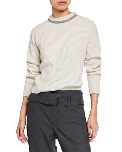 Cashmere Ribbed Crewneck Sweater