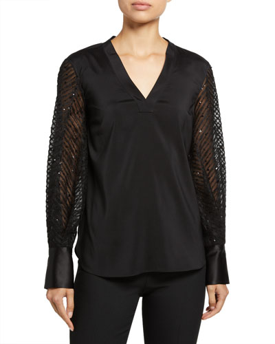 Sequined-Sleeve Silk Shirt