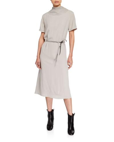 Monili-Trim High-Neck Silk Dress