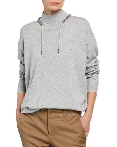 Cashmere Monili-Collared Sweater