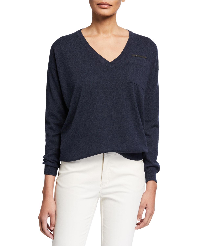 Brunello Cucinelli Sweaters V-NECK LONG-SLEEVE CASHMERE SWEATER W/ MONILI TRIM