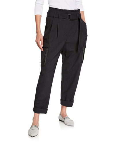 Lightweight Wool Cargo Belted Pants with Monili Trim