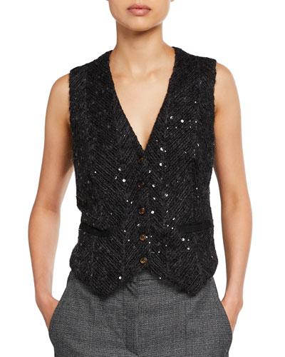 Chevron Sequined Mohair Vest