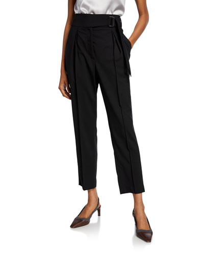 Belted Wool Straight-Leg Pants