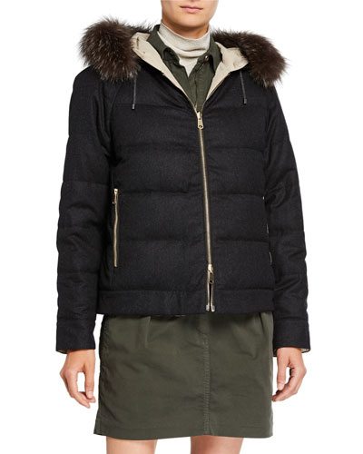 Fur-Trim Reversible Wool Taffeta Down Bomber