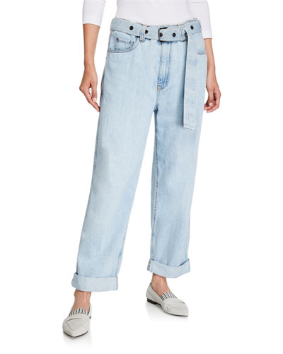 Grommet-Belted Relaxed-Fit Jeans