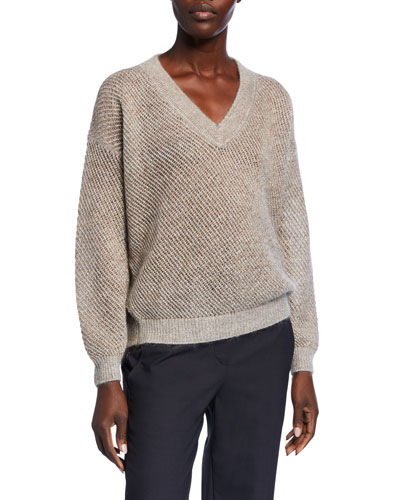 Metallic Mohair Mesh Sweater