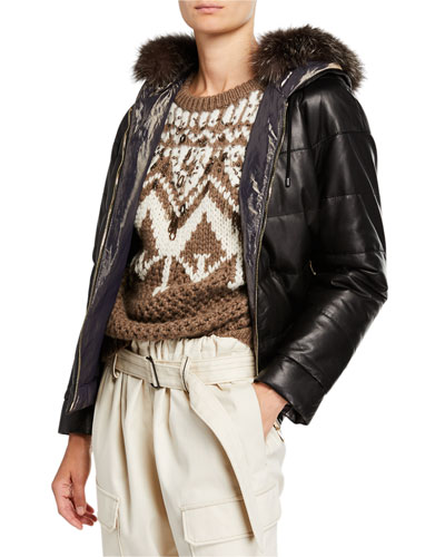 Reversible Quilted Leather Jacket with Fur Hood