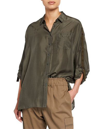 Oversized Satin Button-Front Tab-Sleeve Shirt