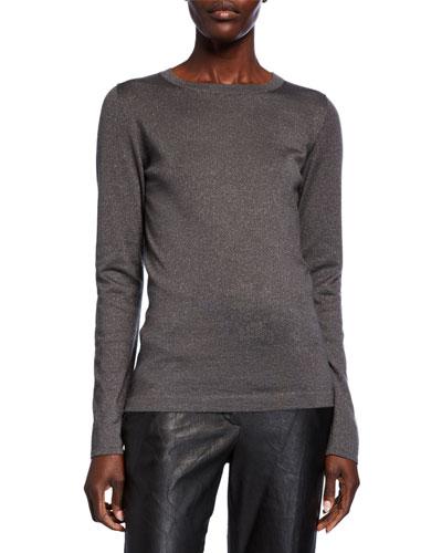 Metallic Cashmere-Silk Sweater