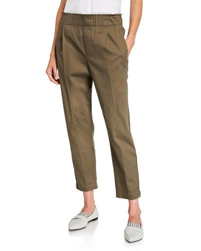 Monili-Striped Cotton Twill Pull on Pants