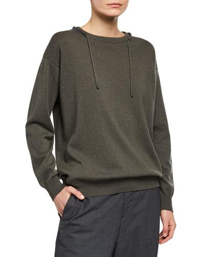 Monili-Beaded Wool-Cashmere Sweater