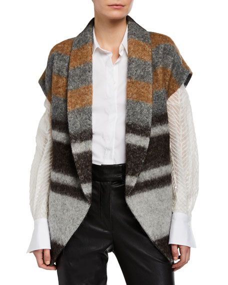 Brunello Cucinelli Striped Wool-Alpaca Vest