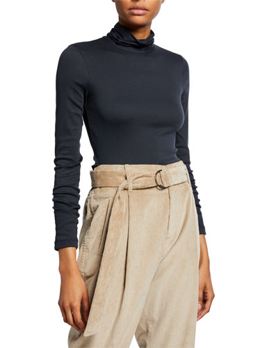 Long-Sleeve Cotton Rib Turtleneck Top w/ Back Zip