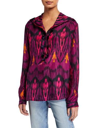 Ciara Ikat-Print Silk Hooded Tunic