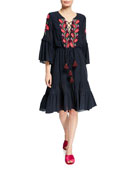 Figue Rose Embroidered Lace-Up Tiered Poet Dress