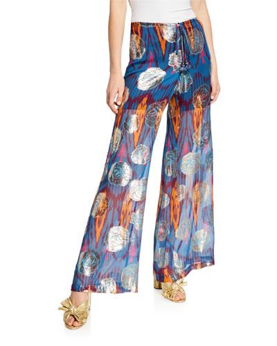 Saanchi Ikat Metallic Flare-Leg Drawstring Silk Pants