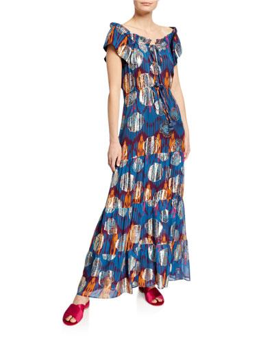 Gianna Ikat Metallic Ruffle Cap-Sleeve Maxi Dress