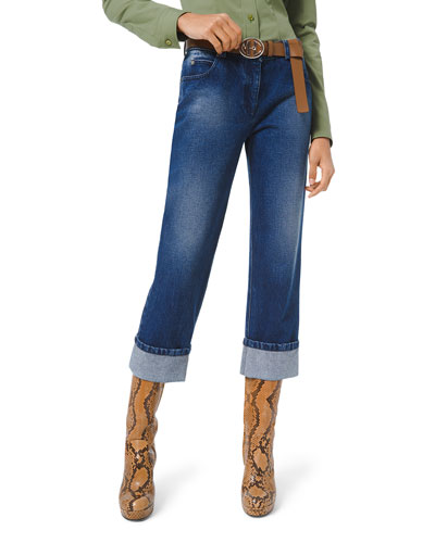 Washed Denim Cuffed-Leg Jeans