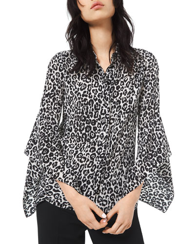 Cheetah-Print Crushed Bell-Sleeve Shirt
